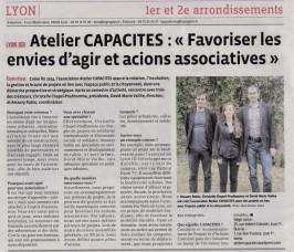 Atelier CAPACITES à l'honneur dans le Progrès (08/2015)