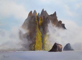 """Dessin vainqueur de la 1ère édition du concours """"KILDA"""" - St Kilda in the mist, Daisy Stoquart, Belgique"""