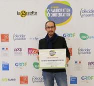 David-Marie VAILHÉ - Réception du Trophée de la Participation et de la Concertation (2017). 2E Edition co-organisée par La Gazette des Communes et Décider Ensemble.