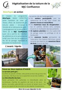 Exemple d'une affiche de l'aménagement de la toiture de la MJC de la Confluence (Lyon 2e)
