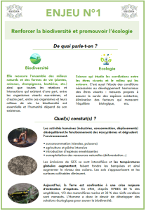 Extrait de la mallette pédagogique - Fiche sur l'écologie et la biodiversité